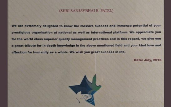 Extends a heartfelt gratitude certificate for Saraswati Shishukunj